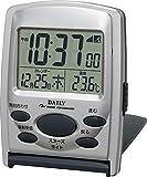 リズム時計 目覚まし時計 電波 デジタル ジャストウェーブR107DN 旅行 用 携帯 トラベル クロック 銀色 DAILY ( デイリー )  8RZ107DN19