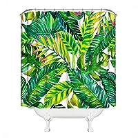TAALESET 緑の葉植物ジャングル熱帯バナナの葉肥厚シャワーカーテン仕切りカーテンセット (色 : Tropical banana leaf, Size : 150*200)