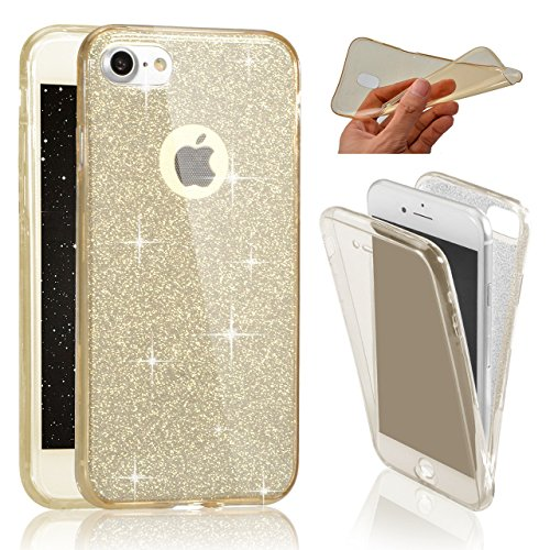 iPhone 7クリアフルプロテクトケース、iPhone 8フルプロテクトケース、セブンパンダ370度前後のクリアケースキラキラ防止スクラッチハル防止スクラッチハルカバーフレキシブルソフトケースカバーiPhone 8 / 7 4.7インチ用 - ゴールド