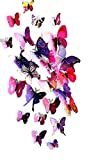 【Smile LaLa 】 3D ウォールステッカー 蝶々 12匹 セット まるで 部屋 に 蝶々 が 飛んでるみたい お好きな色をお選びください ピンク イエロー ブルー グリーン 壁紙 立体 (ピンク)