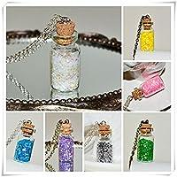 キラキラボトルネックレス、ガラスボトルペンダントキラキラジュエリー、ボトル、ジュエリー、選択色Glitte - 7ボトルのAグループ(Silveryピンクイエローグリーンバイオレットブルー)
