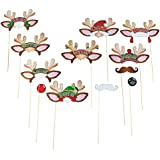 Santa's Reindeer Christmas Party Photo Booth Stick Props - 12 Pcs New