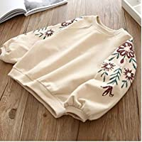 Kids Clothing Spring and Autumn Baby Round Neck Embroidered Long Sleeve Top Sweatshirt, Height:110cm(Pink) Boys Clothing (Color : Apricot)
