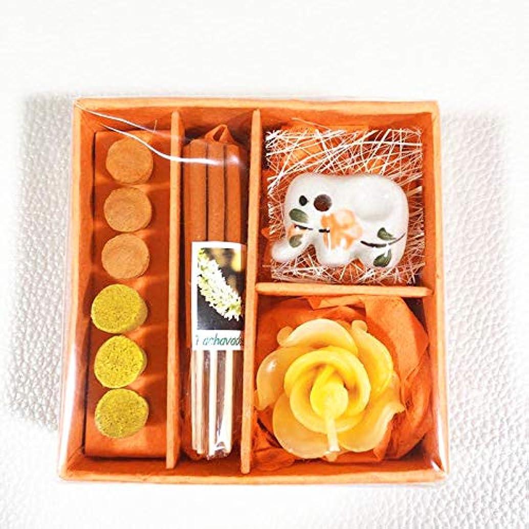 エンドテーブルたぶん作物タイ限定 アロマ?お香?キャンドルミニセットBOX(インセンス) 4色展開 (オレンジ)