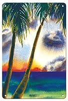 22cm x 30cmヴィンテージハワイアンティンサイン - 空中に音楽があります - ハワイアンサンセット - オリジナルハワイ水彩画から によって作成された ペギー チュン