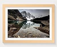 壁掛けインテリア絵画 - 透明な水を使った暗い湖 - 天然木の色 壁掛け モダン インテリア アート 風景画 装飾 壁飾り 部屋の装飾 ポスターー - 50cmx35cm