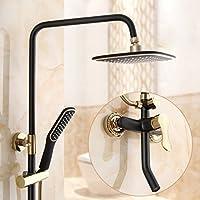 シャワーアンティーク浴室霜降りの蛇口バスルームシャワーレトロシャワーセットアメリカン、ブラック