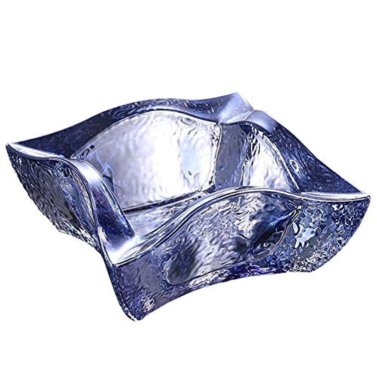 一緒に入口抑圧するファッション透明ガラスクリスタル灰皿クリエイティブオフィスリビングルームの装飾多機能灰皿(色:アクアブルー)