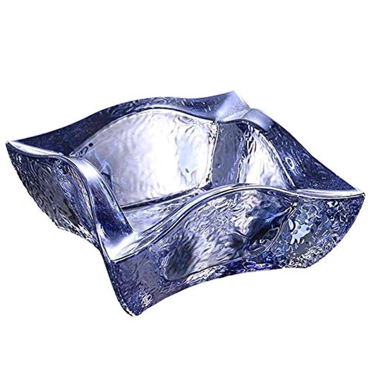 反応するボックス用心するファッション透明ガラスクリスタル灰皿クリエイティブオフィスリビングルームの装飾多機能灰皿(色:アクアブルー)