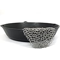 Staron 20cm x 20cm Stainless Steel Chainmail Scrubber 316 Cast Iron Cleaner Brush for Cast Iron Pan Skillet Pan Griddle Wok Grill Scraper Skillet Scraper (20cm x 20cm Sliver)