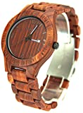 YFWOOD 木製腕時計 手首に負担なし軽い時計 男性女性学生用ウッドウォッチ 赤檀木製おしゃれなメンズ時計