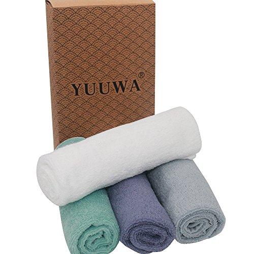 YUUWAフェイスタオル 乾き早い 肌触り抜群 速乾 瞬間吸水 100%綿 アソートメント4枚セット 6色 ハンドタオル ホテルスタイルタオル ふんわり ライフタオル 33×72cm 清潔 家庭用 湿気 梅雨対策