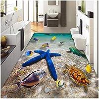 Xbwy Hd潜水艦世界ヒトデ海水写真壁画壁紙3D床タイル床塗装Pvc浴室防水壁紙3 D-150X120Cm