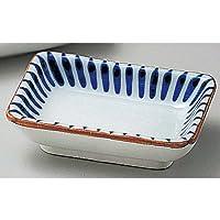 藍十草長角小皿 [ 9 x 6.3 x 2.4cm ] 【 小皿 】 【 料亭 旅館 和食器 飲食店 業務用 】