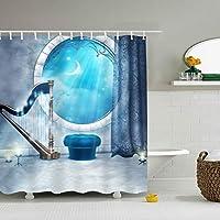 シャワーカーテン 防カビ 防水 幅165×高さ180cm エーゲ海の夜空ユニットバスカーテン ポリエステル 素材 清潔感 バス用品 お風呂 洗面所 間仕切り バスルーム カーテン リング付属 取付簡単