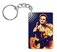 Johnny Cash # 2アルミ長方形プレートキーチェーン( 1-sided ) Includesキーリング。