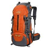 TOYOOSKY 登山用リュック ナップザック スポーツバッグ かばん 50L 防水 軽量 アウトドア ハイキング レインカバー付き (オレンジ)