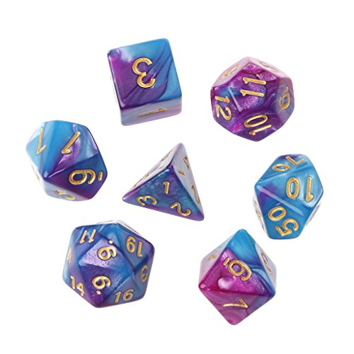 coldgirl 7個アクリルPolyhedral Dice TRPGボード用、ゲームDungeons and Dragons d4-d20