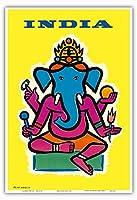 インド - ヒンドゥー教の神ガネーシャ - ビンテージな航空会社のポスター によって作成された ジャン・カルリュ c.1959 - アートポスター - 33cm x 48cm