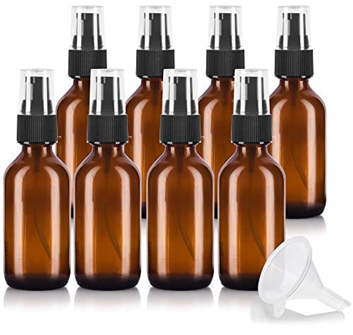 泥だらけ明らか発行する2 oz Amber Glass Boston Round Treatment Pump Bottle (8 pack) + Funnel and Labels for essential oils, aromatherapy...