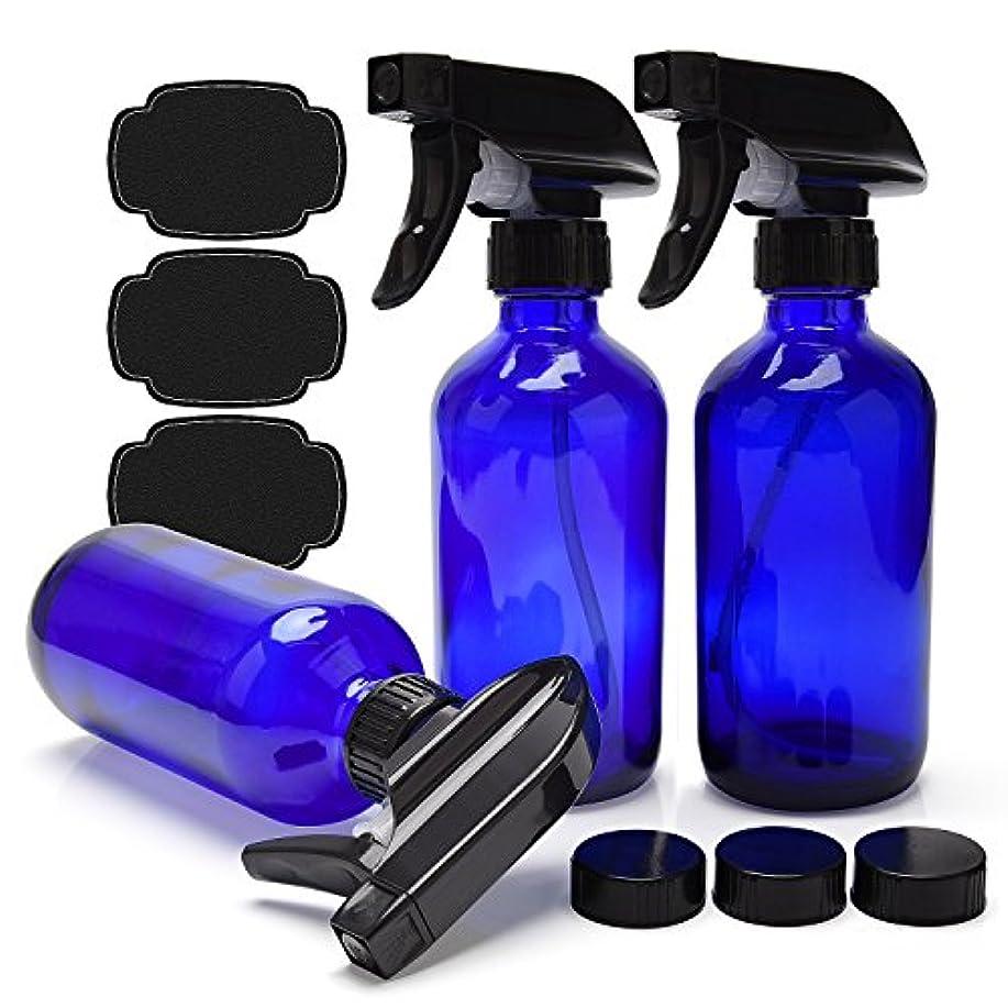 スクランブル専門用語節約ULG 青いガラス スプレーボトルエッセンシャルオイルまたはクリーニング製品 用 空 3枚ボストンラウンドボトルヘビーデューティー黒トリガースプレーミストやストリーム 設定 8オンス コバルトブルー