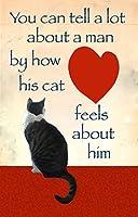 """ You Can Tell aロットに関する方法で人を彼の猫Feels彼について""グリーティングカード、グレーTabby Cat、by Deborah Julian"