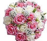 【19blue】 ウェディング ブーケ 花束 バラ 造花 リストレット 2点セット (ピンク)