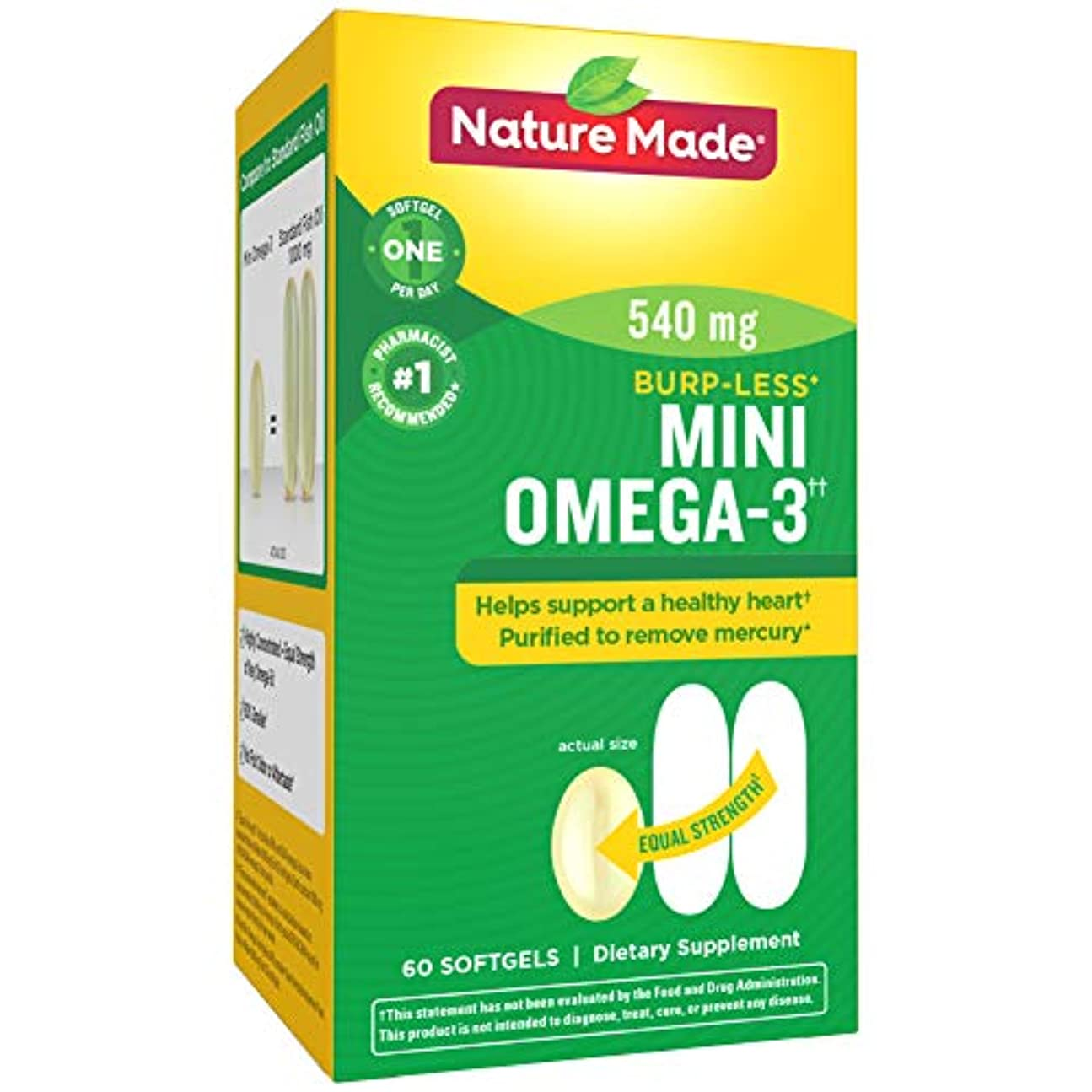 欠席奇跡的な取り囲むNature Made Super Omega-3 Fish Oil Full Strength Softgels, Mini, 60 Count 海外直送品