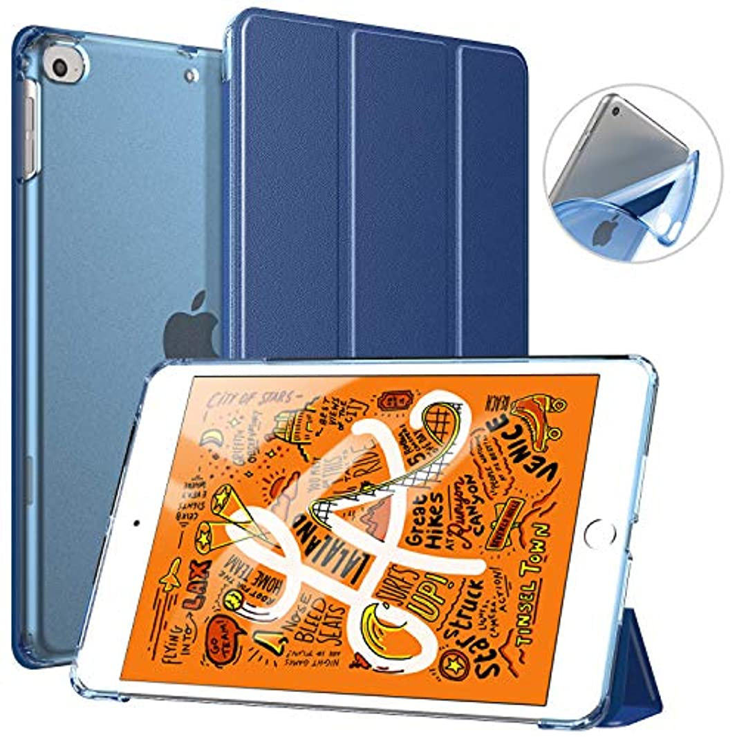 耳授業料詐欺TiMOVO New iPad mini 5 2019年モデルタブレット専用ケース 7.9インチ アイパッドミニ 第五世代に対応 三つ折り半透明スタンドケース オートスリープ機能付き マグレット開閉式カバー Navy Blue