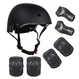Lucky-M キッズ男の子、女の子アウトドアスポーツ用保護具セーフティパッドセット[ヘルメットひじ掛け]ローラーブレード、スクーター、スケートボード、自転車、ローラーブレード用 (黒)