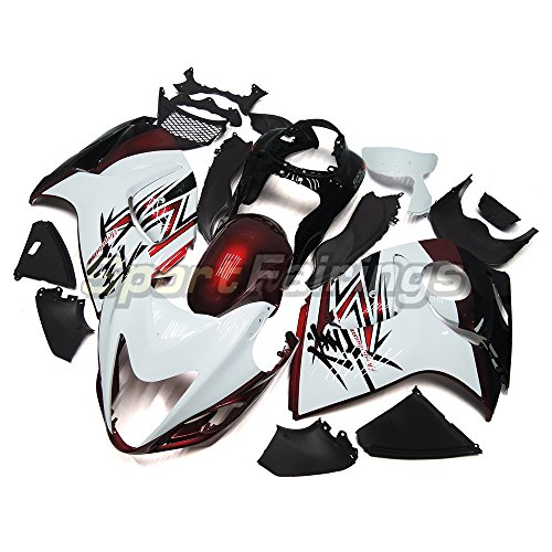 Sportfairings バイク 外装パーツセット 適合 鈴木 Suzuki GSX-R1300 GSX-R GSXR-1300 隼 2008 2009 2010 2011 2012 2013 2014 2015 年 白赤 フェアリング