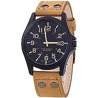 XMONY 人気 メンズ 腕時計 レザーベルト 30M防水 カレンダー付 クオーツ ウオッチ (カーキ)