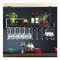 ワイングラスホルダーワインラックシンプルアイアンハンギングゴブレットステムウェア天井装飾棚バーレストランキッチン壁逆さ棚 (Color : Black)