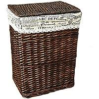 籐製の籐製の籐製の綿のライニングの汚れたハンパーの服雑貨の収納バスケット (サイズ さいず : 37 * 26 * 49cm)