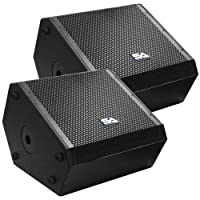 Seismic Audio - SAX-15M-PW-Pair - Pair of Powered Compact 15 Inch 2 Way Coaxial Floor/Stage Monitors with Titanium Horns [並行輸入品]