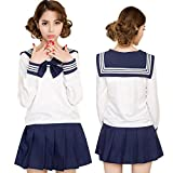 セレカジSIZE カラー セーラー服 制服 リボン ミニスカート 女子高生 コスプレ 衣装 (長袖S, ダークブルー)