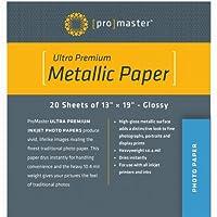 Promaster Proシルバーメタリックインクジェット用紙–13x 19–20シート