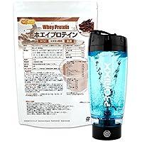ホエイプロテインW80 ココア風味1kg+電動シェーカーPROMIXX ブラック 11種類のビタミン配合 [02] NICHIGA(ニチガ)