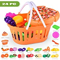 Dingji Kids Pretend Role PlayキッチンFruit Vegetable FoodおもちゃCutting Set Toy 12.5*10.8*6.5cm 663648037847