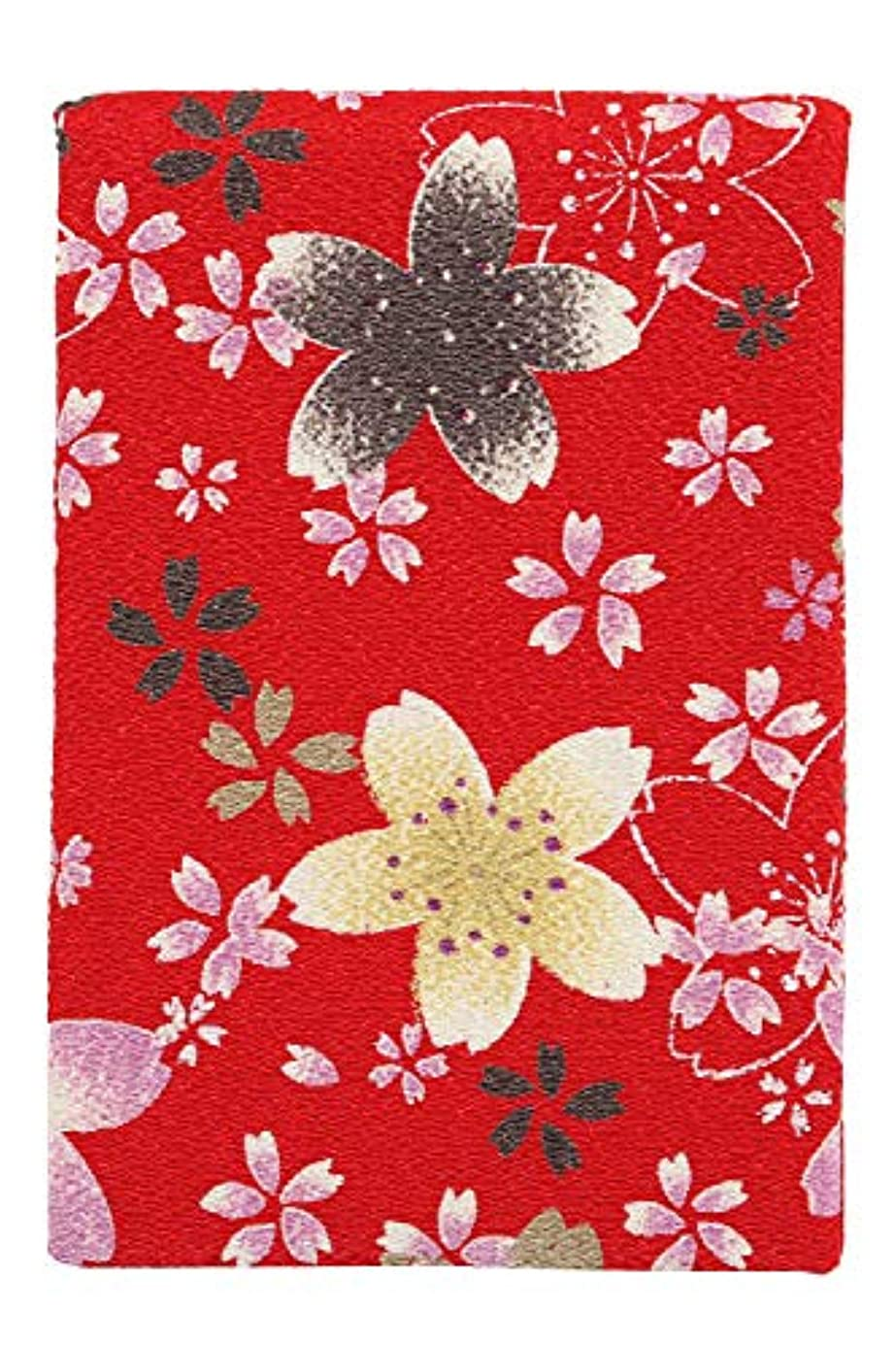 繁栄する累計飛躍小紋工房 立鏡 大 賑桜(赤) 二越ちりめん 京都 和KOMONO 江戸小紋 1303