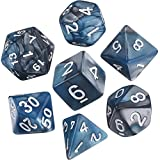 eBoot Polyhedral 7-die Dice Set for Dungeons and Dragons Withブラックポーチ(ターコイズシルバー)