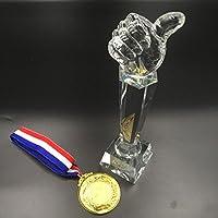 sac taske (サク タスケ) いいね トロフィー & 金メダル 親指 good おもしろ ユーモア 優勝カップ 表彰式