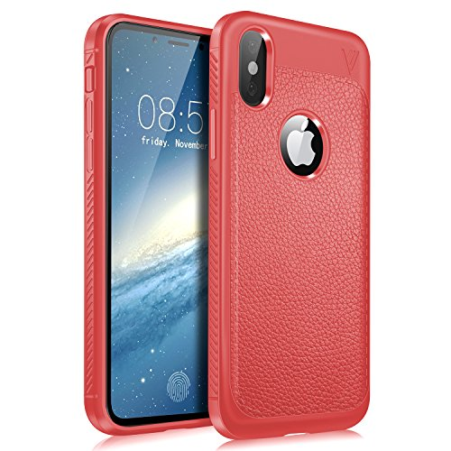 KUGI iphoneX ケース 耐衝撃 衝撃吸収 落下防止 Apple iPhone X iPhoneX Edition 高品質 PUレザー ガードカバー 防塵 指紋防止 放熱強化 アイフォンX ケース レッド