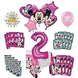 Mayflower Products ミニーマウス 2歳の誕生日パーティー用品 16個のゲストバルーンデコレーションキット