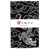 彩(irodori) 小紋手ぬぐい ドラゴン(黒) ほつれ防止加工あり 33×88cm TE-06004M-IR