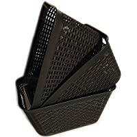 一般的なプラスチックバスケット 棚収納バスケット 取っ手付き 整理用 ブラック
