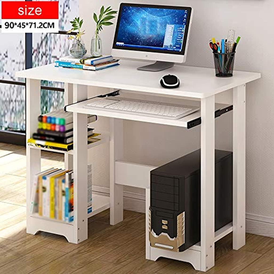 追い払うブリーク分散LJHA zhuozi デスクトップコンピュータの机の家、ノートブックのデスクのオフィスの机の表の簡単な学習の机 (色 : 白, サイズ さいず : 90*45*71.2cm)