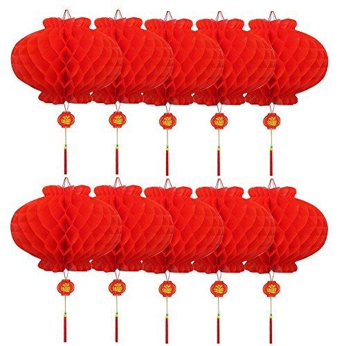 10個セット お祭り しょうがつ 提灯 飾り ハニカム ランタン 春節 装飾 縁起のいい 意味が良い、富、幸運、祝福が来る (直径15cm)