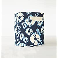 Canvas basket, shibori print, diamond pattern, blue and off white, storage basket, fabric bin, sizes available (10x10)