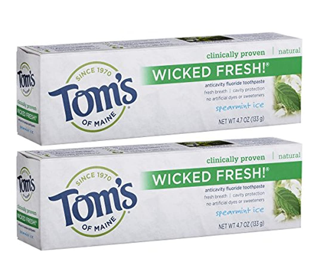 ご飯キャンセルシャットTom's of Maine Wicked Fresh Long Lasting Fresh Breath Fluoride Toothpaste, Spearmint Ice, 4.7-Ounce by Tom's of...